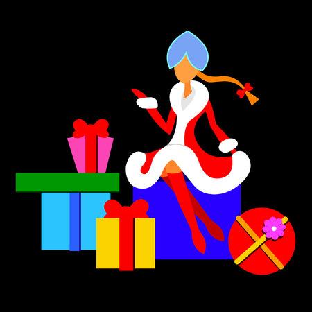 Maiden new winter girl snow vector holiday christmas year illustration Vetores