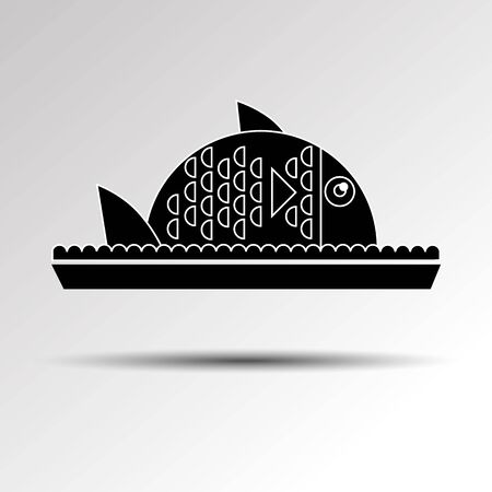 Fish food vector dinner dish plate meal