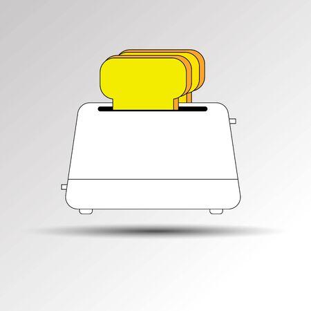 Toaster vector breakfast toast illustration bread kitchen equipment food electric