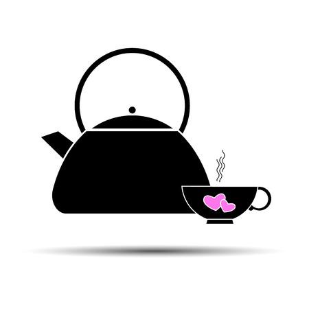 Tea vector teapot illustration graphic symbol art traditional design cup pot breakfast