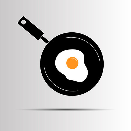 egg breakfast pan food cooking vector meal white yolk protein yellow