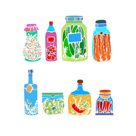 vector illustration food vegetable healthy jar green