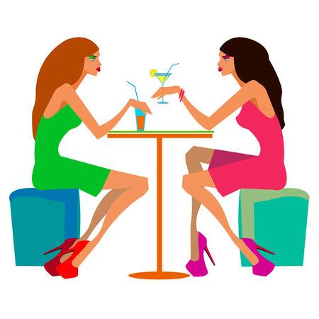 belleza hermoso cabello vector alcohol amistad reunión Ilustración de vector