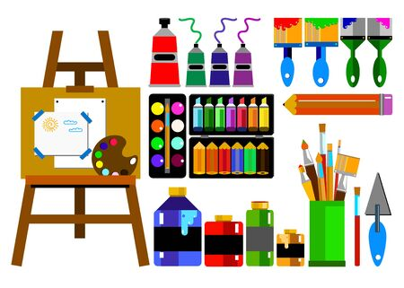 color paint brush vector abstract art easel Illustration