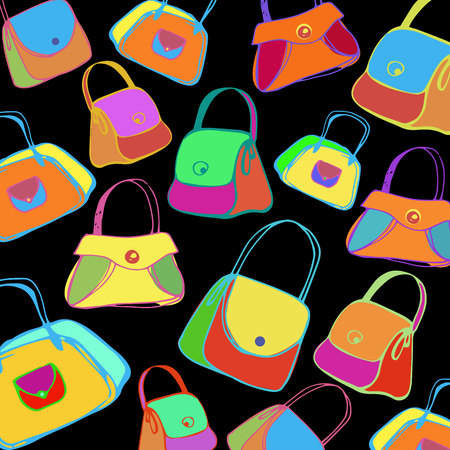 vector icon set handbag element black illustration Illustration