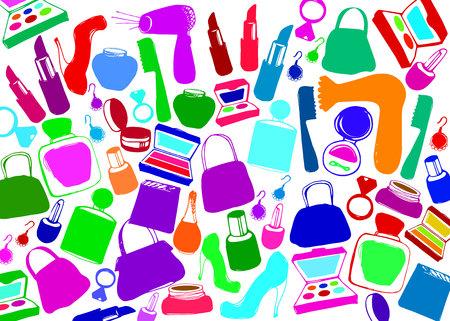 vector fashion female makeup shoes bags perfume Illustration