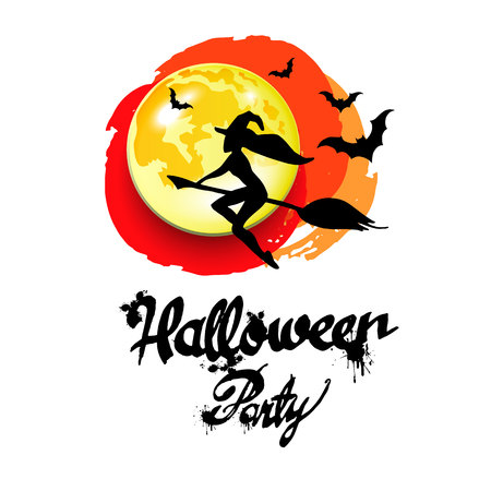 night dress: halloween, witch, hat, vector, illustration, holiday, black, silhouette, cartoon