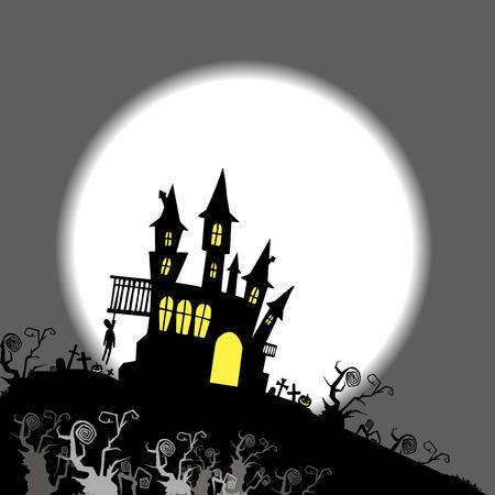 moon halloween castle illustration horror night silhouette Stock Illustratie