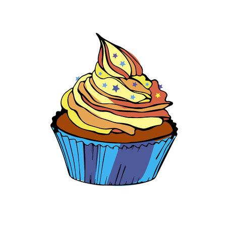chocolate swirl: cake vector cupcake dessert cream food sweet illustration birthday delicious Illustration