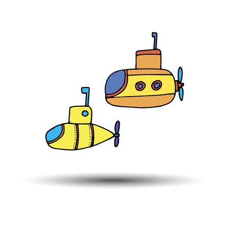 Ilustración De Dibujos Animados Submarino Amarillo Y Rojo Aislado En ...