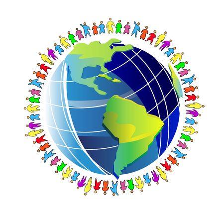earth people world planet globe illustration global around peace