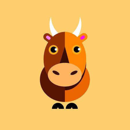 illustration vector bull symbol icon animal horns tail hooves ears