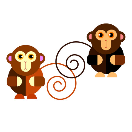 Cartoon cute monkey character happy wild mammal animal funny jungle Illustration