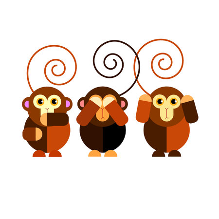 Cartoon cute monkey character happy wild mammal animal funny jungle Illustration