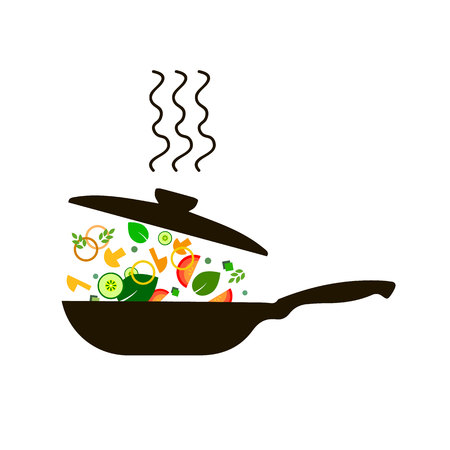 cucina padella pentola cucina cibo illustrazione oggetto pentola vettoriale cuoco Vettoriali
