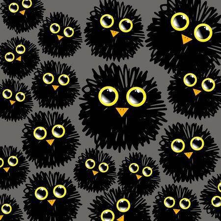 eyed: funny cute furry animal vector bird illustration cartoon background art happy Illustration