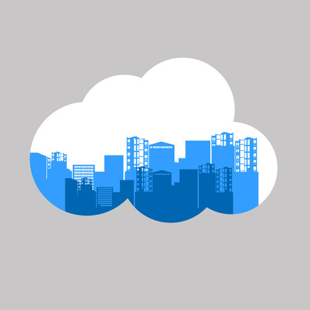 vector construction silhouette clouds industry illustration architecture industrial black city