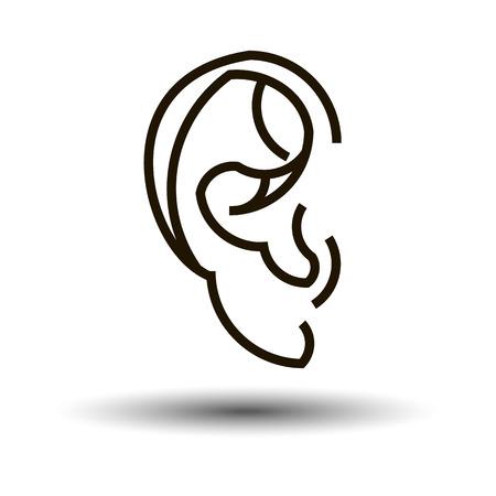 roundness: ear vector sound symbol human white sense listen illustration auricle Illustration
