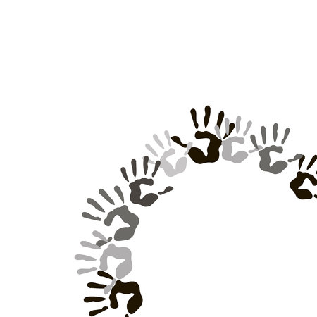 vector color hand handprint human print symbol finger illustration art