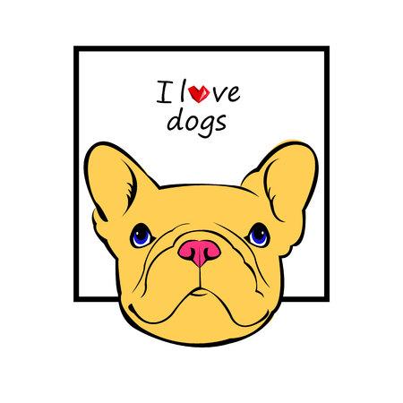 black haired: dog, vector, breed, cute, pet, animal, bulldog, french, french bulldog, small, illustration Illustration
