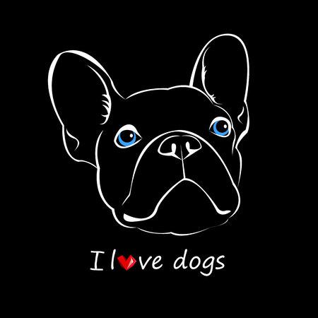 dog, vector, breed, cute, pet, animal, bulldog, french, french bulldog, small, illustration Ilustrace