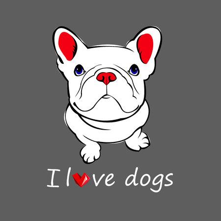 dog vector breed cute pet animal bulldog Illustration
