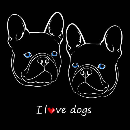 Hond vector ras schattig huisdier bulldog