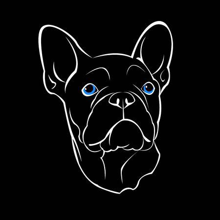 Franse bulldog. Vector illustratie voor een kaart of poster. Druk op kleding. Schattige puppy. Rashond.