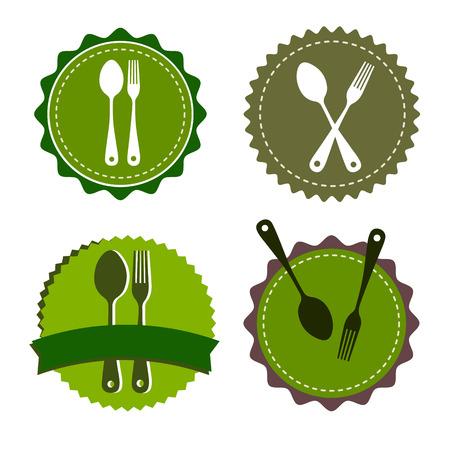 spoon fork icon vector kitchen illustration restaurant