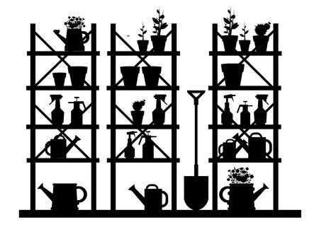 Plain black and white garden vector equipment illustration rake watering can.