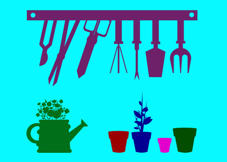 Blue garden vector equipment illustration rake watering can. Illustration