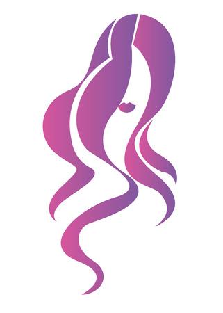 Cabeza hermosa del pelo de la belleza del retrato de la muchacha del vector púrpura. Ilustración de vector