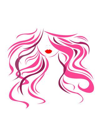 Una cabeza hermosa del retrato de la muchacha del vector de la belleza del pelo.