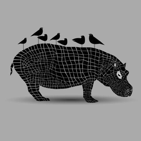 Cute hippo vector hippopotamus animal mammal illustration cartoon cute zoo.