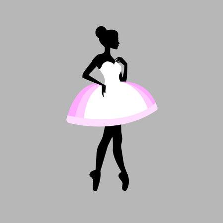 Artistic vector ballerina ballet illustration dancer dance beautiful dress girl silhouette.