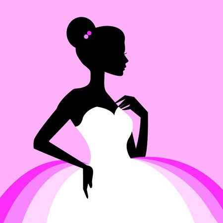In pink vector ballerina ballet illustration dancer dance beautiful dress girl silhouette.