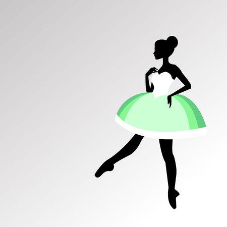 lyrical: Green vector ballerina ballet illustration dancer dance beautiful dress girl silhouette.