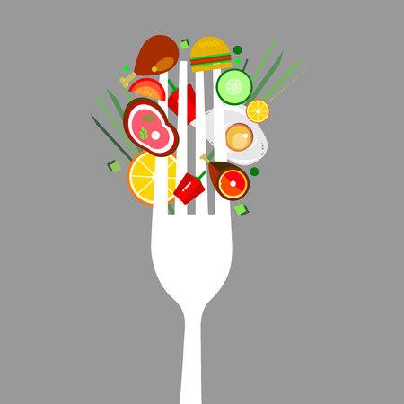fried shrimp: Food fork vector meat illustration cook fork kitchen appliance chop tasty fried lemon.