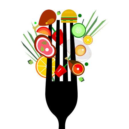 Food on black fork vector meat illustration cook fork kitchen appliance chop tasty fried lemon.