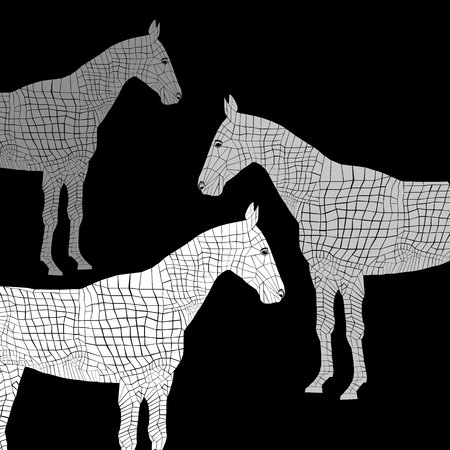 Set of sketched head mustang icon equestrian animal black farm.