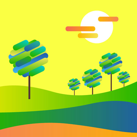 landscape vector  forest  illustration background silhouette tree