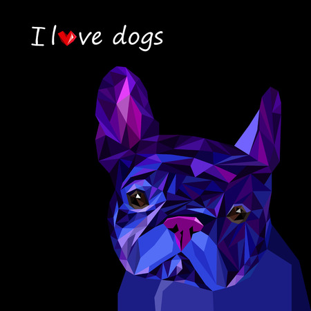 frenchie: dog vector breed cute pet animal bulldog Illustration