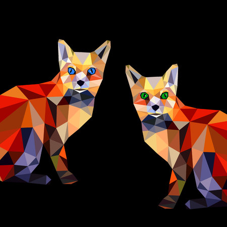 fox vector animal design cartoon illustration wild red cute orange