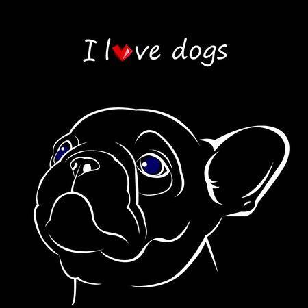 hond vector ras schattige huisdier bulldog frans