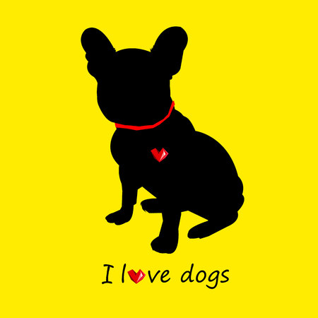 black haired: dog vector breed cute pet animal bulldog french Illustration