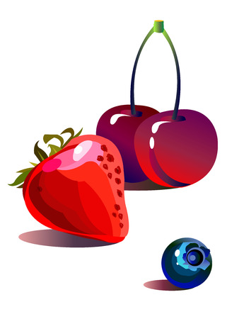 vector fruit fresh leaf strawberry ripe berry Illustration