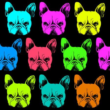 Perro, vector, raza, lindo, mascota, animal, bulldog