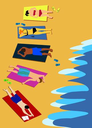 beach summer sea people sun bikini sand Illustration