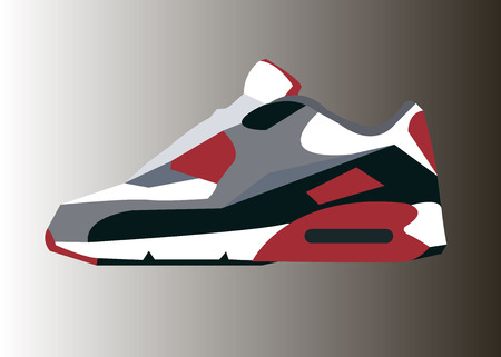 traction: running vector symbol illustration white shoes footwear Illustration