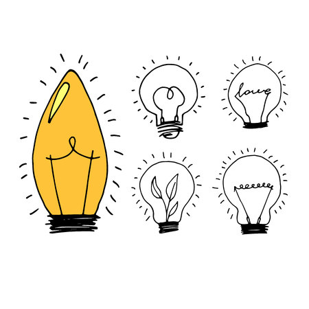 lamp, light yellow vector illustration poster black line